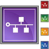 Ethernet Backbone icon button — ストックベクタ