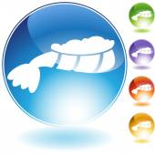 Lobster tail crystal icon — Stock Vector
