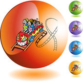People Rollercoaster button — Stock Vector