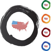 America flag map icon — Stock Vector
