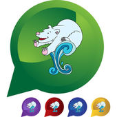 Polar Bear web button — Stock Vector