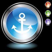 Boat anchor icon web button — Stock Vector