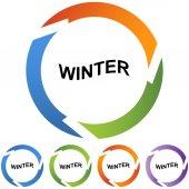 Winter sign web button — Stock Vector