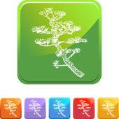 Bonsai Tree web button — Stock Vector