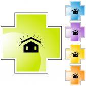 Nowy dach ikona przycisku — Wektor stockowy