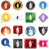 Seatbelt Alert Icon Set — Stock Vector