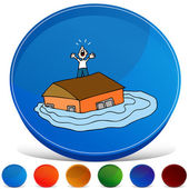 Flooded House Gemstone Button Set — Stock Vector
