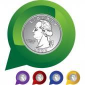 Quarter web icon — Stock Vector