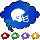 Football helmet web button — Stock Vector