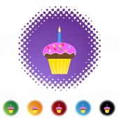 Birthday Cupcake  web button — Stock Vector