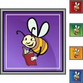 Bee Reading web button — Vecteur