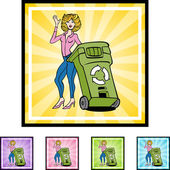 Recycling Woman web icon — Stock Vector