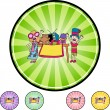 Kids during Yard Sale icon button — Stock Vector #64190317