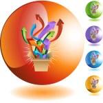 Exploding Box web button — Stock Vector #64196551
