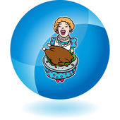 Mom Serving Turkey — Stock Vector