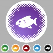 Fish web button — Stock Vector
