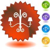 Chandelier web button — Stock Vector