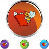 Bee Reading web button — Vettoriale Stock