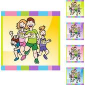 Familie Running web pictogram — Stockvector
