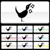 Singing Bird icon button — Stock Vector