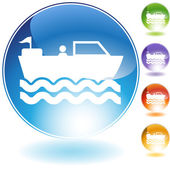 Motorboat Crystal Icon — Stock Vector