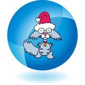 Whiskered Cat in Santa hat — Stock Vector