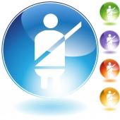 Seatbelt Alert Crystal Icon — Stock Vector