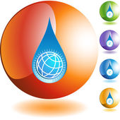 Water Drop World web icon — Stock Vector