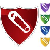 Safety Pin web button — Stock Vector
