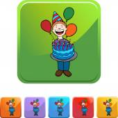 Birthday Boy with cake — Stock Vector