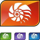 Nautilus Shell web button — Stock Vector