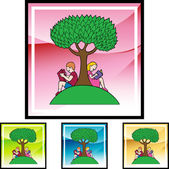 Boy and girl reading under the tree — Stock Vector