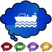 Motor Boat  web button — Stock Vector