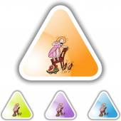 Roaches and woman web icon — Stock Vector