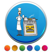 Chef Cooking Using A Timer Button Set — Stock Vector