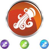 Aquarius web button — Stock Vector