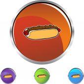 Chili dog icon button — Stock Vector