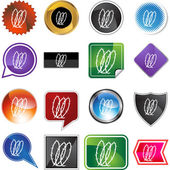 Coiled Barbed Wire icon set — Stock Vector