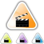 Movie Clapboard web button — Stock Vector