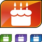 Birthday cake web button — Stock Vector