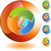 Recycling Arrow  web button — Vetor de Stock