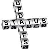 Status update dice message — Stock Vector