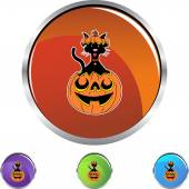 Halloween Cat button — Vector de stock