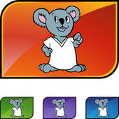 Koala icon button — Stock Vector