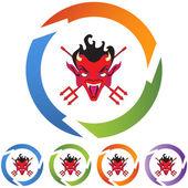 Devil web button — Stock Vector