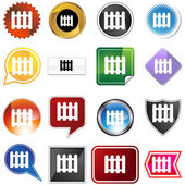Picket Fence Icon Set — Stock Vector