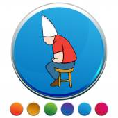 Dunce Hat Man on Stool Button Set — Stock Vector