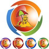 Sandcastle web icon — Stock Vector