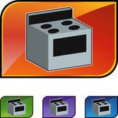 Stove icon button — Wektor stockowy