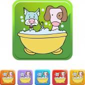 Puppy Bath web icon — Stock Vector